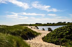 Path to the beach -Nantucket. A stretch of sand leading to a beach - Nantucket - MA - USA Royalty Free Stock Image