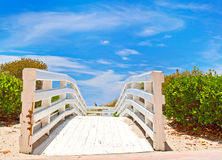 Path to the beach and ocean in Miami Florida Stock Photos