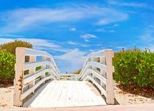 Path to the beach and ocean in Miami Florida Stock Photos