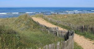Path to the beach. Of Paracou in la Chaume Les Sables d`Olonne, France stock video