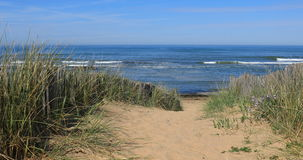 Path to the beach. Of Paracou in la Chaume Les Sables d`Olonne, France stock footage