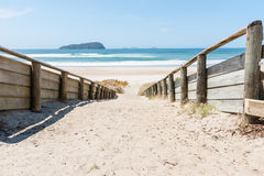 Path to beach at Pauanui, New Zealand. Stock Photo