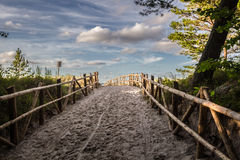 Path to the beach. Sand path to the beach Stock Image