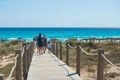 Path to the beach of Son Bou in Spain stock image