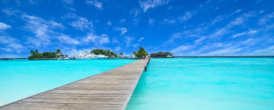 Path to beautiful island. In Maldives Stock Images