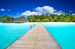 Path to beautiful island. In sunny day Stock Photos