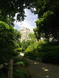 Path to the Castle. A garden path leads to a grand castle Stock Photo