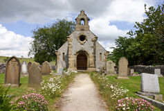 Path to the Chapel. A small church in the countryside with a leading path to the main doors chapel royalty free stock image
