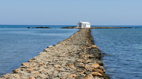 Path to the church. On the sea at Crete Royalty Free Stock Image
