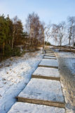 Path to Epha dune top in winter. Curonian spit. Russia Stock Photo