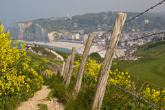 Path to Etretat's beach. Narrow path to the Etretat's pebbles beach (Normandy, France), bordered by a fence with barbed wire. Along it, there are a lot of Stock Images
