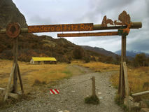 The path to the Fitz Roy mountain, in El Chalten, Argentina. EL CHALTEN, ARGENTINA - APRIL 17: Entrance to the path to the Fitz Roy mountain, in the small town Stock Photo