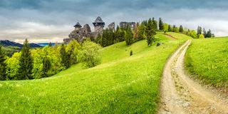 Path to fortress ruins on hillside with forest. Composite mountain landscape. curve path to abandoned ruins of ancient fortress through green meadow on mountain Stock Photography