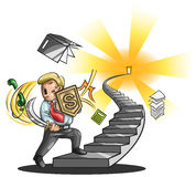 Path to a great businessman (vector). Path to a great businessman. An businessman is walking up the stairs fighting every obstacle in the way, create by vector Royalty Free Stock Photography