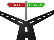 Path to heaven and hell. 3D render of road to heaven and hell with sign board stock illustration