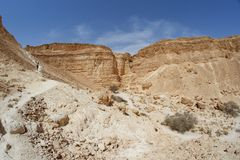 Path to the hill in the desert canyon. (Nahal Barak, Israel&#x29 Royalty Free Stock Images