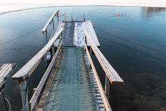 Path to icy water for swimming Stock Image