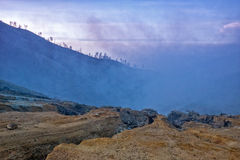 Path to Ijen. View from Ijen path around sunrise, Indonesia Stock Photo