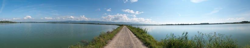 The path to infinity through the lake Stock Photo