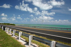 Path to Key West. A highway in South Florida in the Florida Keys, between Marathon and Key West royalty free stock photo