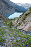 Path to the Kuiguk lake in the Altai mountains, Russia. 2016 Stock Photos