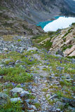 Path to the Kuiguk lake in the Altai mountains, Russia. 2016 Royalty Free Stock Photo