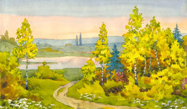 The path to the lake. Watercolor landscape. A narrow path winds its way among the yellowing of young trees to the lake in the valley Stock Image