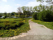 The path to the lake. Park of polish Manor Pan, The path to the lake royalty free stock image