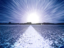 Path to light. White line leads to explosive light Royalty Free Stock Photos