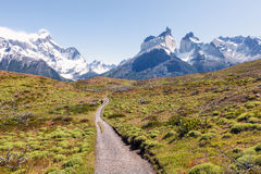 Path to the lookout on the horns of the towers of Paine, Chile. Path to the lookout on the horns of the towers of Paine, National Park Torres del Paine Royalty Free Stock Image