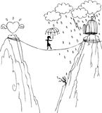 Path to love and freedom. Concept illustration about finding love and freedom. A girl is going from a cage to a winged heart Stock Photo