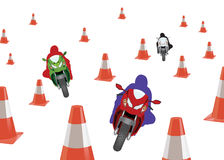 Path to motorcycling obstacles. Obstacle course bike race and danger Stock Images