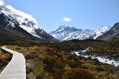 On the path to Mount Cook Stock Photo