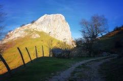 Path to Mugarra mountain peak in Urkiola. Mountains royalty free stock photography