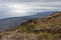 Path to the ocean. A steep path leads to the ocean from Hawaii Volcanoes National Park Royalty Free Stock Photo
