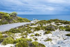 Path to outdoor seat right beside the beach, Kangaroo Island, Australia Stock Photos