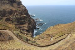 A path to the peace. November 2017. Santo Antão, Cape Verde. Exciting path bordering the east coast of the island Royalty Free Stock Photo