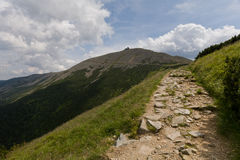 The path to peak. One of the routes leading to highest mountain in Sudety in Poland Royalty Free Stock Images