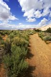 Path to the Redrock Mountains in Snow Canyon. Snow Canyon in St. George, Utah royalty free stock photography