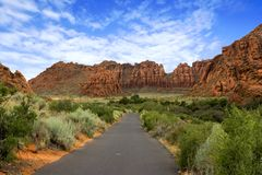 Path to the Redrock Mountains in Snow Canyon Royalty Free Stock Photo