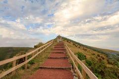 Path to religious monument, Azores. Portugal stock photo
