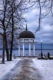 Path to rotunda on lake in winter. Path to rotunda on nice lake in winter season Stock Photography