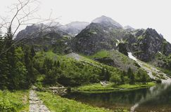 Path to Rysy peak without tourists, Morskie Oko, Tatra stock photography