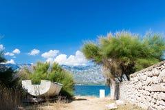 Path to the sea in Croatia. Rocky path to the sea in Croatia Stock Photos