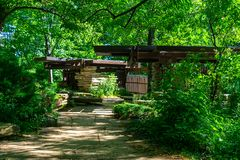 Path to the Shaded Pavilion at the Alfred Caldwell Lily Pool in Lincoln Park Chicago royalty free stock photos
