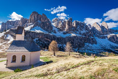 Path to small church at Passo Gardena, Dolomites, Italy, Europe. Path to small church at Passo Gardena, Dolomites, Italy Royalty Free Stock Images