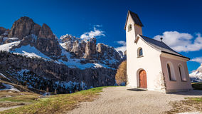 Path to small church at Passo Gardena, Dolomites, Italy Royalty Free Stock Photo