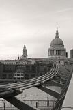 London St. Pauls Cathedral. St. Pauls Cathedral in London and the guideline of Millenium Bridge Royalty Free Stock Photography