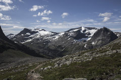 Path to Stabbeskaret-Massif, nearby Trollstigen in Norway stock photo