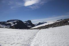Path to Stabbeskaret-Massif, nearby Trollstigen in Norway Stock Image